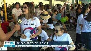 ONG é criada para chamar a atenção para a falta de acessibilidade em Cachoeiro, ES - Ação foi feita neste sábado no Centro de Cachoeiro.