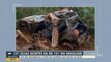Duas pessoas morrem em acidente na BR-101 em Araquari - Duas pessoas morrem em acidente na BR-101 em Araquari