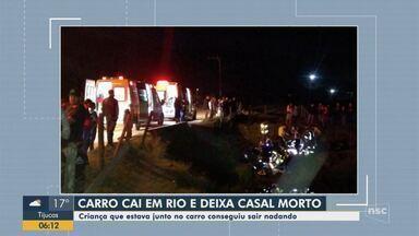 Casal morre após carro cair em rio em Camboriú - Casal morre após carro cair em rio em Camboriú