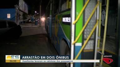 Criminosos assaltam ônibus e passageiros têm celulares roubados no ES - Neste domingo (11), dois ônibus foram assaltados.