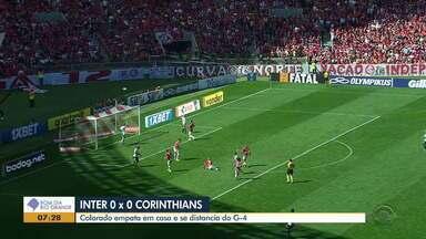 Inter e Corinthians ficam no zero e perdem chance de subir na tabela do Brasileirão - Em jogo com poucas chances, Colorado pressiona, Timão se defende bem, e ninguém marca na manhã de domingo no Beira-Rio;.