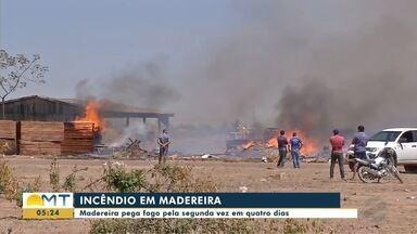 Madeireira pega fogo pela segunda vez e bombeiros combatem fogo em área de chácaras - Madeireira pega fogo pela segunda vez e bombeiros combatem fogo em área de chácaras