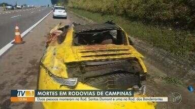 Acidentes deixam mortos em rodovias de Campinas - Três pessoas morreram em acidentes que ocorreram nas rodovias da região de Campinas (SP) nesta segunda-feira (12). Trânsito ficou complicado para os motoristas.