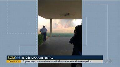 Incêndio ambiental atinge área do campus da Unioeste - Fumaça chegou ao prédio da universidade e aulas tiveram que ser interrompidas.