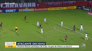 Atacante Anselmo Ramon acredita em recuperação do Vitória, na série B - Jogador participou de 6 dos 16 gols do clube nesta temporada.