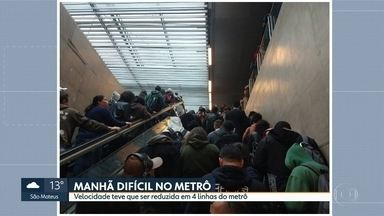 Manhã difícil para quem precisou do metrô - 4 linhas circularam com velocidade reduzida nesta quarta-feira.