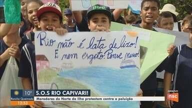 Moradores do bairro Ingleses, em Florianópolis, protestam contra poluição em rio - Moradores do bairro Ingleses, em Florianópolis, protestam contra poluição em rio