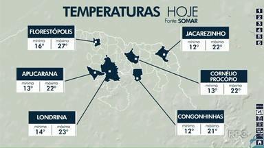 Previsão é de tempo aberto e temperaturas mais baixas em Londrina - A temperatura mínima prevista para esta quinta-feira (15) é de 9º em Londrina e a máxima pode chegar a 24º.