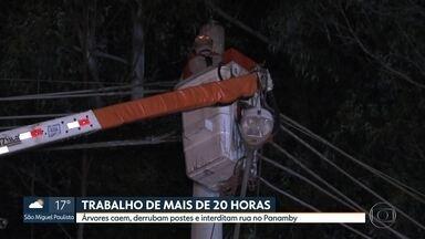 Árvores caem sobre postes e interditam rua no Panamby - Os bombeiros chegaram a trabalhar por mais de 20 horas para fazer a retirada das três árvores que chegaram a derrubar três postes de energia.