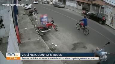 Idoso agredido enquanto andava na rua em Feira está em coma; suspeito foi identificado - Crime foi registrado por câmera de segurança.
