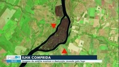 Imagens de satélite mostram destruição causada pelo fogo na Ilha Comprida - Em Mato Grosso do Sul.