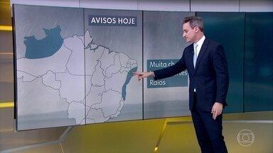 Temporais continuam no Norte e no leste do Nordeste - Acumulados já passaram dos 100mm em cidades da Bahia