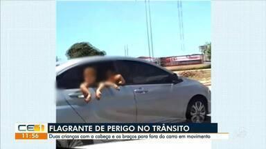 Flagrante. Crianças se arriscam na janela de carro em movimento - Saiba mais em g1.com.br/ce