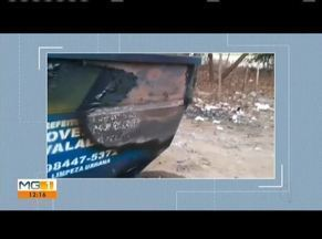 Secretário de obras fala sobre ações de vandalismo em container, em Valadares - Container foi incendiado.