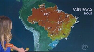 Previsão é chuva forte no Espírito Santo nesta quarta-feira - Temperatura fica baixa em São Paulo, litoral do Rio de Janeiro e no leste do Paraná.