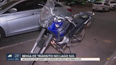 Motociclista agride ciclistas e um deles vai parar na UTI após briga de trânsito - Condutor foi preso. Caso é investigado como tentativa de homicídio.