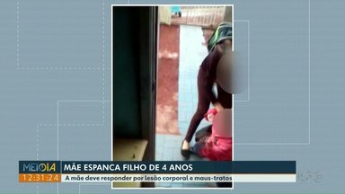 Mãe é flagrada espancando o filho de quatro anos - A mãe deve responder por lesão corporal e maus-tratos.