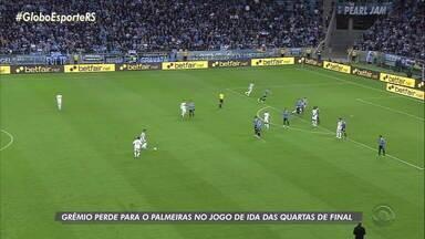 Grêmio perde para o Palmeiras no jogo de ida das quartas de final da Libertadores - Time paulista conquistou vantagem para o jogo de volta com gol de bola parada.