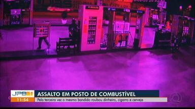 Posto de combustíveis em Campina Grande é assaltado três vezes pelo mesmo homem - O assaltante leva dinheiro, cigarro e cerveja.