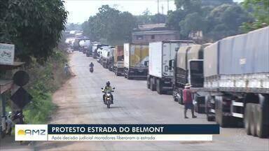 Moradores da Estrada do Belmont liberaram trecho da via que estava interditado - Liberação aconteceu depois de uma decisão judicial