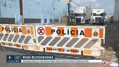 PM bloqueia trânsito em ruas de Ceilândia - Ruas da QNN 3 foram fechadas para combate ao tráfico de drogas.