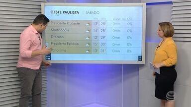 Sol e tempo firme marcam o fim de semana na região de Presidente Prudente - Tiago Rodrigues mostra em detalhes como ficam as temperaturas neste sábado (24).