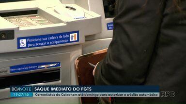 Correntistas da Caixa tem até domingo (25) para autorizar o crédito automático do FGTS - Saque imediato permite a retirada de até 500 reais por conta do Fundo de Garantia.