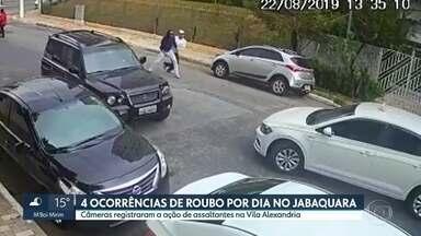 Jabaquara tem 4 ocorrências de roubo por dia, diz SSP - Câmeras registraram a ação de assaltantes na Vila Alexandria.