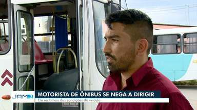 Motorista de ônibus se nega a dirigir por estado de veículo, em Manaus - Condutor reclamou das condições do ônibus.