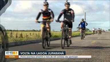 Ciclistas vão dar a volta na Lagoa Juparanã, em Linhares - Serão 111 quilômetros.