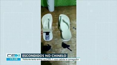 Visitante tenta entrar em presídio com celular e carregador escondidos no par de chinelos - Saiba mais em g1.com.br/ce