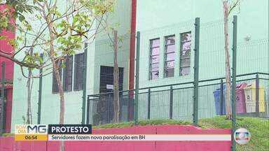 Servidores da rede municipal de educação de Belo Horizonte fazem nova paralisação - Eles protestam contra um processo seletivo de terceirizados que pode provocar a demissão de 5 mil pessoas, segundo o sindicato que representa a classe.