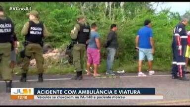 Viatura e ambulância se envolvem em acidente na PA-140, em Vigia - Viatura e ambulância se envolvem em acidente na PA-140, em Vigia
