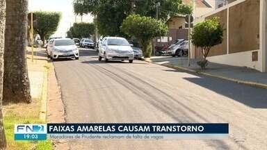 Faixas amarelas geram reclamações em Presidente Prudente - Problema atinge várias áreas da cidade.