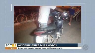 Duas motos batem de frente e uma pessoa morre - Duas motos batem de frente e uma pessoa morre