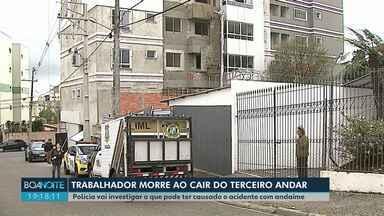 Trabalhador morre ao despencar do terceiro andar de obra, em Ponta Grossa - O andaime em que ele estava se soltou.