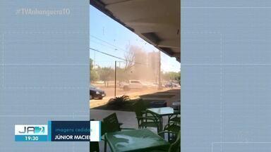 Redemoinho derruba fachada de loja em Palmas - Redemoinho derruba fachada de loja em Palmas