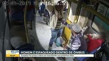Imagems mostram ataque dento de ônibus em Jundiaí - A vítima foi esfaqueada e morreu. O suspeitro foi preso.