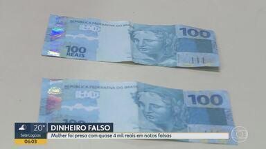 Mulher é presa ao pagar motorista de aplicativo com nota falsificada no centro de BH - Qualidade da falsificação impressionou até a Polícia Militar. Mulher estava com R$ 5 mil na bolsa.