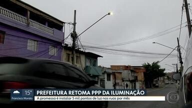 Prefeitura da capital promete instalar 5 mil pontos de luz nas ruas por mês - A prefeitura da capital vai retomar a parceria público-privada da iluminação. E promete instalar 5 mil novas luminárias nas ruas por mês