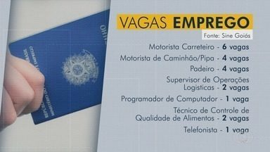 Veja vagas de emprego abertas para Goiás - Existem oportunidades para motorista carreteiro, padeiro e programador de computador.