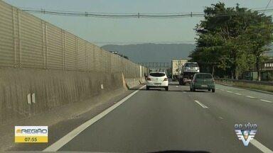 Nina Barbosa mostra as condições do tráfego na região - TV Tribuna acompanha o trânsito na Baixada Santista.