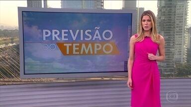 Previsão de tempo seco, umidade baixa e calor e em grande parte do país - No Centro-Oeste do país, a chuva vai ser localizada em Mato Grosso e Mato Grosso do Sul. Massa de ar seco impede a formação de chuva no Sudeste e no interior do Nordeste. No sul gaúcho, o risco é de temporal por causa de uma frente fria.
