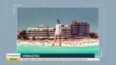 Montagem mostra cantora Lana Dey Rey caminhando por Cabo Frio - Pedro José é apaixonado pela cidade da Região dos Lagos e se encantou com o clipe 'Doin' Time', onde a cantora ocupa totalmente as ruas de São Francisco, nos Estados Unidos.