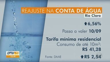 Rio Claro terá reajuste de 6,56% nas tarifas de água e esgoto - Tarifa mínima residencial terá aumento de de R$ 2,54 e passará a custar R$ 41,28.