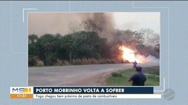 Queimada em vegetação chega bem perto de posto de combustíveis - Funcionários ajudaram no combate às chamas