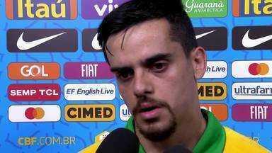 """Após derrota do Brasil, Fagner comenta: """"A gente sabe da força do futebol sul-americano"""" - Após derrota do Brasil, Fagner comenta: """"A gente sabe da força do futebol sul-americano""""."""
