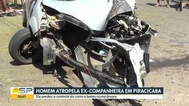Homem atropela ex-companheira em Piracicaba - Ele estava inconformado com o fim do relacionamento e a atropelou. Mas, no acidente, ele bateu o carro em uma árvore e morreu.