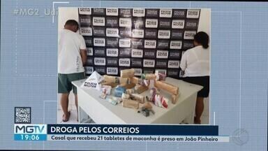 Casal é preso ao receber 20 tabletes de maconha pelos Correios em João Pinheiro - Outros 11 kg da substância foram encontrados na casa. Um terceiro suspeito conseguiu fugir e é procurado pela polícia.