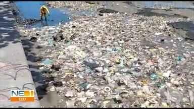 Lixo toma conta do Rio Capibaribe na altura do Cais da Alfândega - Segundo Emlurb, 15 toneladas de lixo são retirados por mês de pontos críticos do rio no Recife.